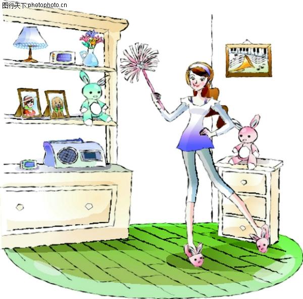 卡通女性图片-卡通图 打扫 大柜子 主妇,卡通,卡