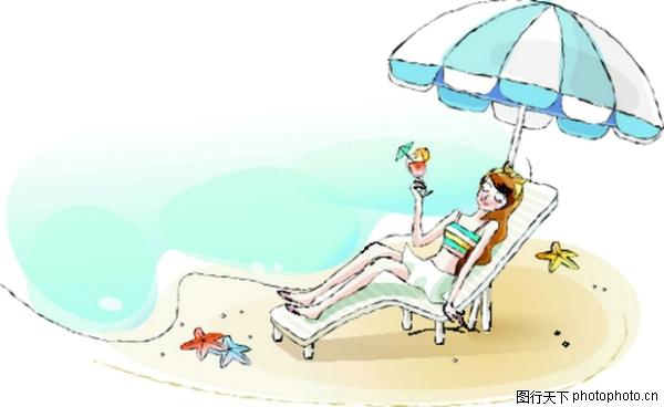 晒太阳 大阳伞 卡通女性-卡通-卡通