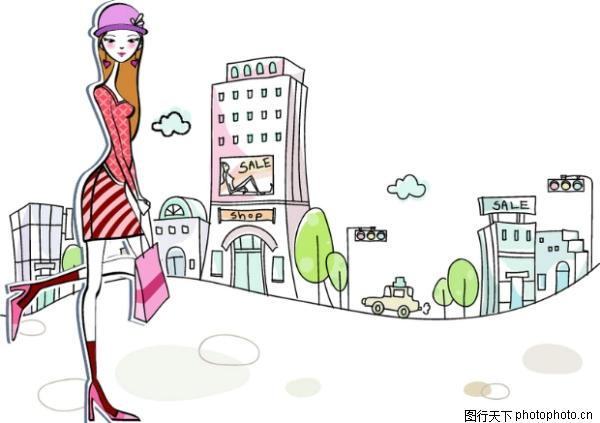 卡通时尚女性图片-卡通图 时髦女孩 卡通时尚,卡通