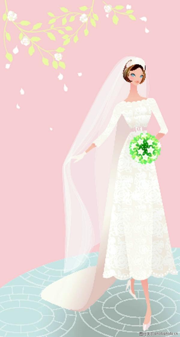 新娘 白色头纱 手拿花簇