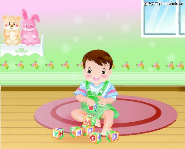 儿童图 一人玩玩具